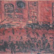 Koloane-Twilight Cityscape 2008-Carborundum, drypoint & monotype-HR